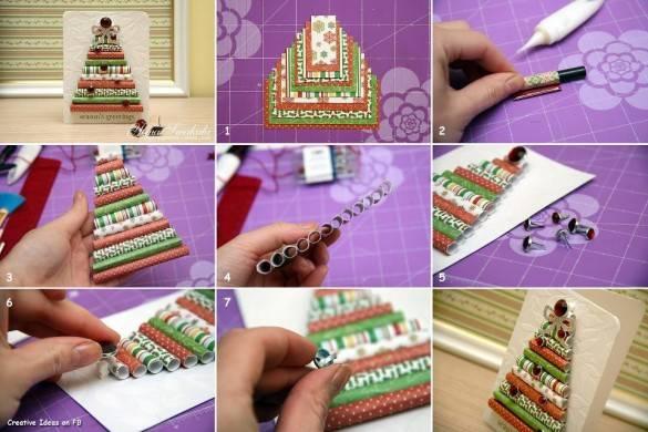 Рождественские открытки из цветной упаковочной бумаги