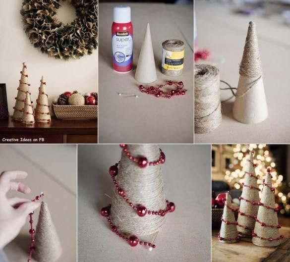 Рождественская елка из жгута и гирлянды