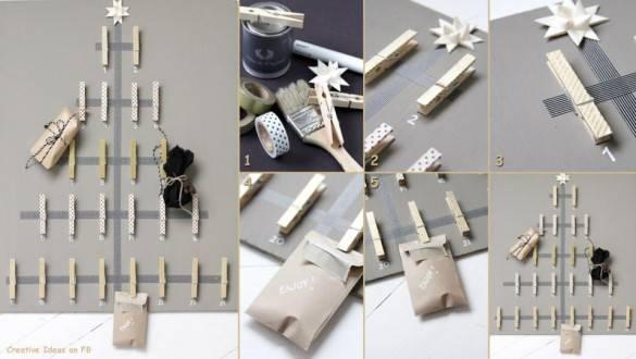 Елка из прищепок и украсить пакетиками с подарками