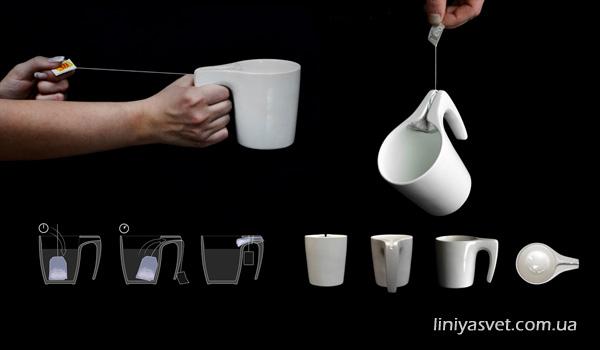 чашка с уникальной ручкой для выкручивания пакетика чая