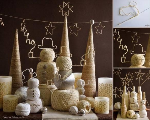 Рождественские украшения из пряжи и клубков ниток