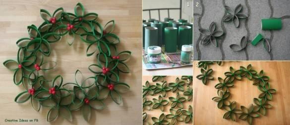 Пример использование валиков от туалетной бумаги для создания елки